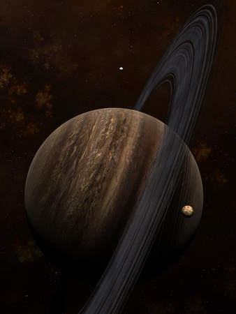Artist's Concept of a Ringed Gas Giant and its Moons Photographic Print by  Stocktrek Images