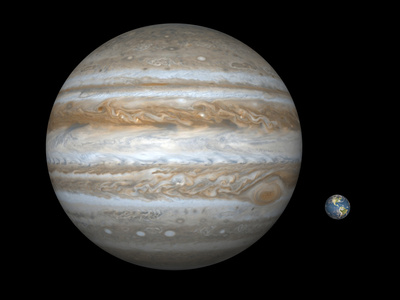 Artist's Concept Comparing the Size of Jupiter with That of the Earth, Poster