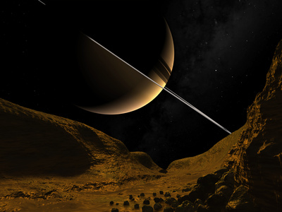 Illustration of Saturn from the Icy Surface of Enceladus Photographic Print by  Stocktrek Images