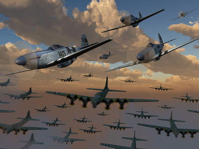 B-17 Flying Fortress Bombers and P-51 Mustangs in Flight Photographic Print by  Stocktrek Images