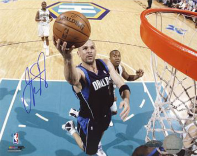 Jason Kidd Autographed First Game Back with Mavericks Layup Photograph Photo