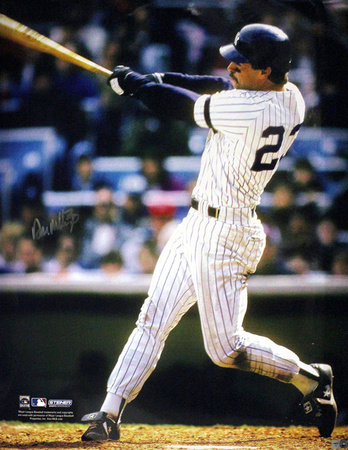 Don Mattingly Autographed NYY Home Jersey Swinging Vertical Photo Photo