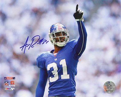 Aaron Ross Autographed Pointing vs Cowboys in Divisional Playoffs Photograph Photographie