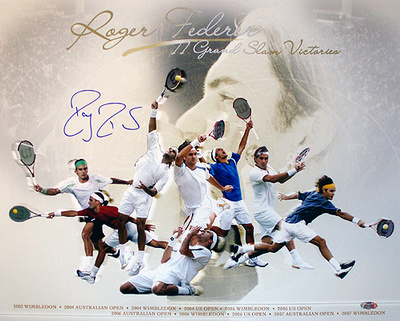 Roger Federer Autographed Grand Slam Victories Collage Photograph Photo