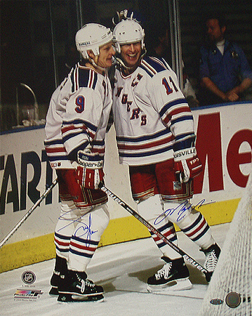 Adam Graves And Mark Messier Dual Autographed Celebration Behind The Goal Photograph Photo