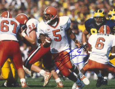 Donovan McNabb Autographed Rolling Right vs Michigan Photograph Photo