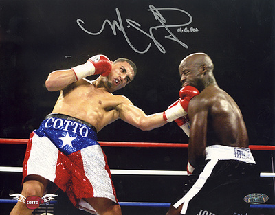 Miguel Cotto Autographed PR Trunks Upper Cut vs John Brown Photograph Photo