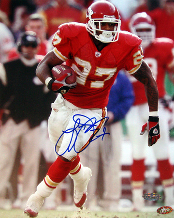 Larry Johnson Autographed Kansas City Chiefs Running Photograph Photographie