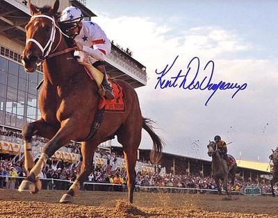 Big Brown Crossing the Finish at the Preakness Signed By Kent Desormeaux Photo Photo