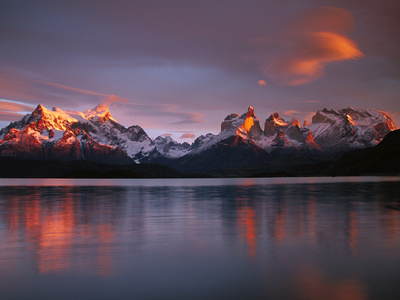 Cuernos Del Paine at Dawn and Lago Pehoe, Torres Del Paine National Park, Patagonia, Chile Photographic Print by Colin Monteath/Minden Pictures