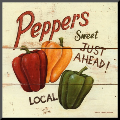 Sweet Peppers Mounted Print by David Carter Brown