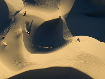 Aerial View of Atvs Riding in the Algodones Sand Dunes in the Morning Photographic Print by Pete McBride