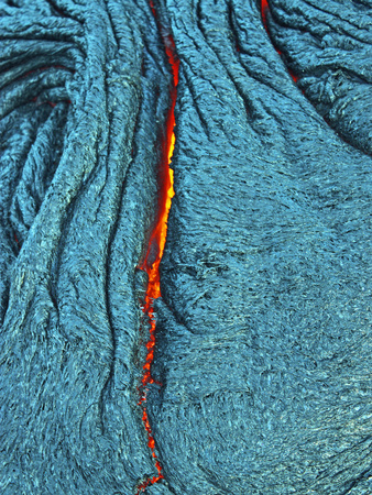 Detail of an Active Silver Pahoehoe Lava Flow Photographic Print by  O'Meara