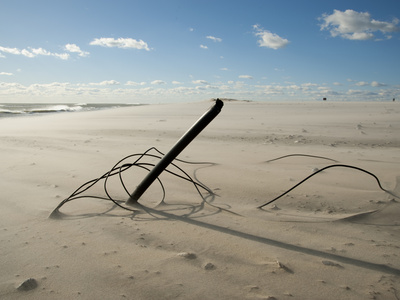 The Remains of a Fence, Knocked Down by Heavy Atlantic Storm Surges Fotografisk tryk