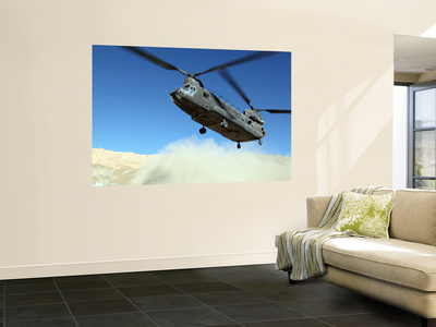 A Ch-47 Chinook Prepares to Land Wall Mural by  Stocktrek Images