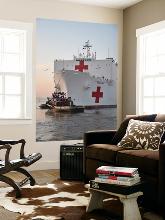 The Hospital Ship Usns Comfort Departs for Deployment Wall Mural by  Stocktrek Images