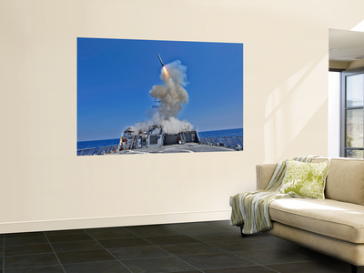 Uss Barry Launches a Tomahawk Cruise Missile Wall Mural by  Stocktrek Images
