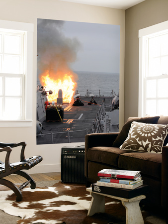 A Tomahawk Missile Launch Aboard Uss Sterett Wall Mural by  Stocktrek Images