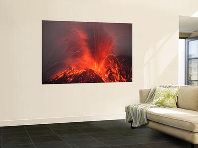 Vulcanian Eruption with Glowing Lava Bombs on Sakurajima Volcano, Japan Wall Mural by  Stocktrek Images