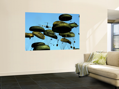 A U.S. Air Force C-17 Globemaster Iii Airdrops Pallets to Port-Au-Prince, Haiti Wall Mural by  Stocktrek Images
