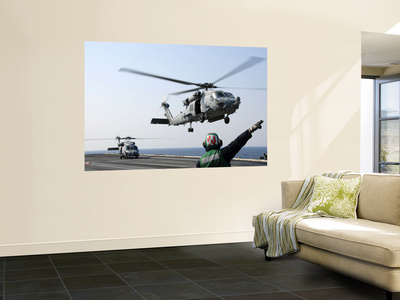 An Hh-60H Sea Hawk Helicopter Takes Off from Uss Ronald Reagan Wall Mural by  Stocktrek Images