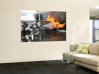 Firefighters Extinguish an Exterior Fire During a Training Exercise Wall Mural by  Stocktrek Images
