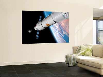 A Command Module Approaches an Awaiting Rocket in Earth Orbit Wall Mural by  Stocktrek Images