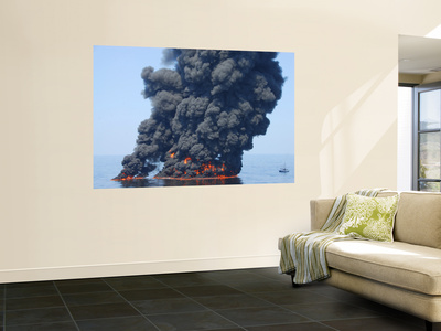 Dark Clouds of Smoke and Fire Emerge as Oil Burns During a Controlled Fire in the Gulf of Mexico Wall Mural by  Stocktrek Images