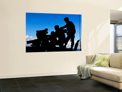 Silhouette of Soldiers Operating a Bgm-71 Tow Guided Missile System Mural