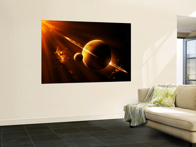 An Extraterrestrial Spacecraft Approaches a World That Lies Between Two Bright Suns Wall Mural by  Stocktrek Images