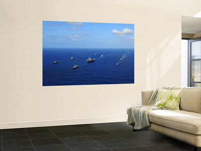 Ships from the Ronald Reagan Carrier Strike Group Transit the Pacific Ocean Wall Mural by  Stocktrek Images