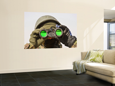 An Afghan Soldier Scans the Horizon for Enemy Movements Wall Mural by  Stocktrek Images