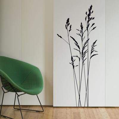 Lange græsstrå - Medium - Sort Wallstickers