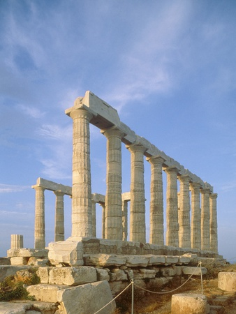 Poseidon Temple  in the evening light in  Sounion National Park, Attica, Greece Photographic Print by Rainer Hackenberg
