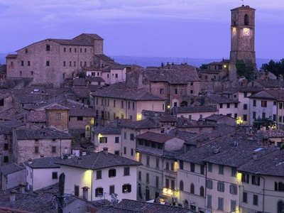 Anghiari at twilight, Vitaleta, Tuscany, Italy Photographic Print by Roland Gerth