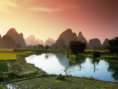 Fishing on the Li River Fotoprint