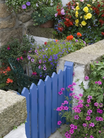 Blue Garden Gate in Spring Garden Photographic Print by Mark Bolton