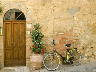 Bicycle Next to Flowers and Door Photographic Print by Mark Bolton