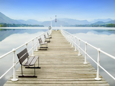 Pier on Ullswater in Lake District National Park Photographic Print