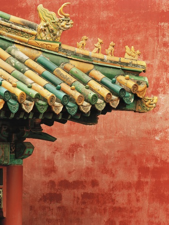 Roof Decoration on Building in Forbidden City Photographic Print by Bruno Ehrs