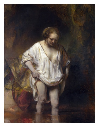 Woman Bathing in a Stream Premium Giclee Print by  Rembrandt van Rijn