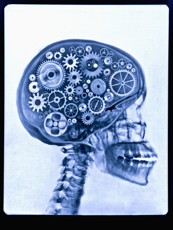 X-ray of skull with gears Photographic Print by Thom Lang