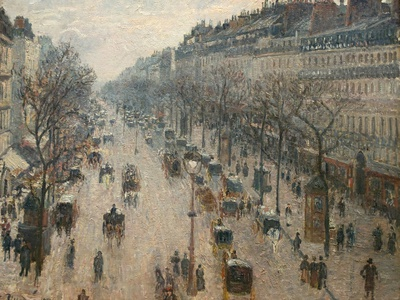 The Boulevard Montmartre on a Winter Morning Photographic Print by Camille Pissarro