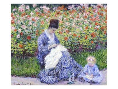 Camille Monet and a Child in the Artist's Garden in Argenteuil Premium Giclee Print by Claude Monet