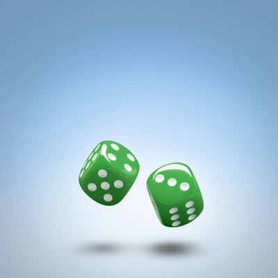 Green dice Photographic Print by John Gillmoure