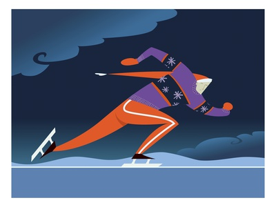 Speed skater Premium Giclee Print by Harry Briggs