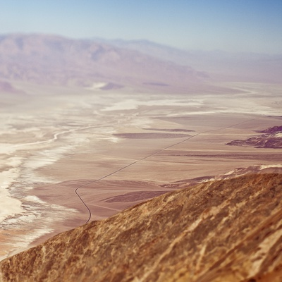 Aerial View of Desert Valley Photographic Print