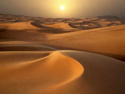Intense Sun over sand dunes around Dubai Photographic Print