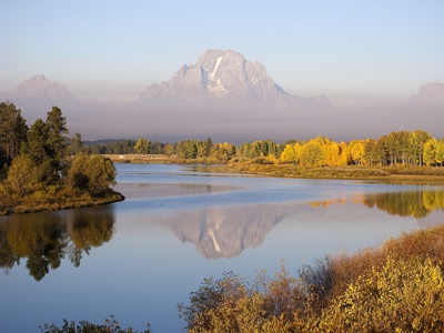 Mount Moran and the Snake River with autumn color Fotografisk tryk