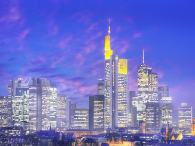 Skyscrapers in Frankfurt Photographic Print by Paul Hardy